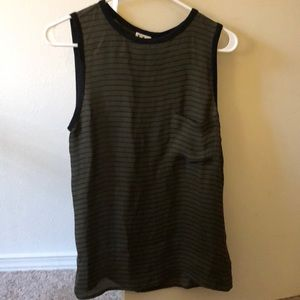 Haute Hippie army green striped silk pocket tank